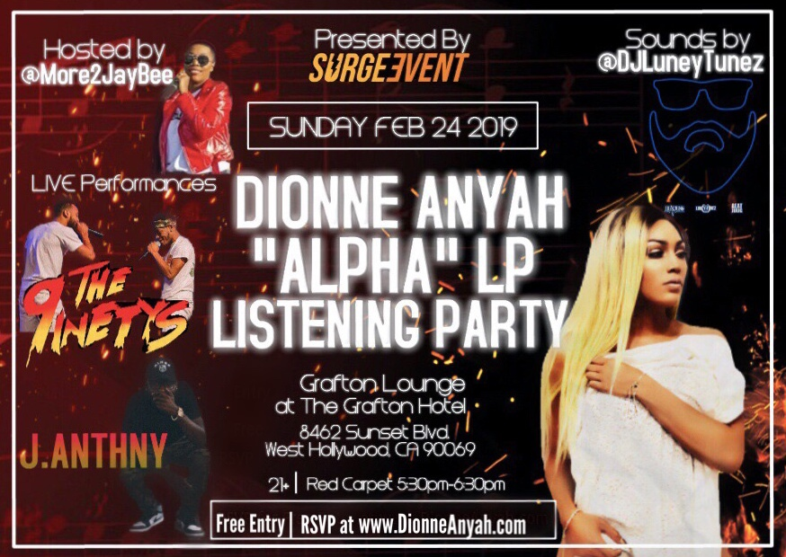 """Dionne Anyah Listening Party for LP """"Alpha"""""""