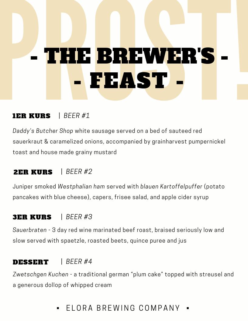 Brewer's Feast Menu