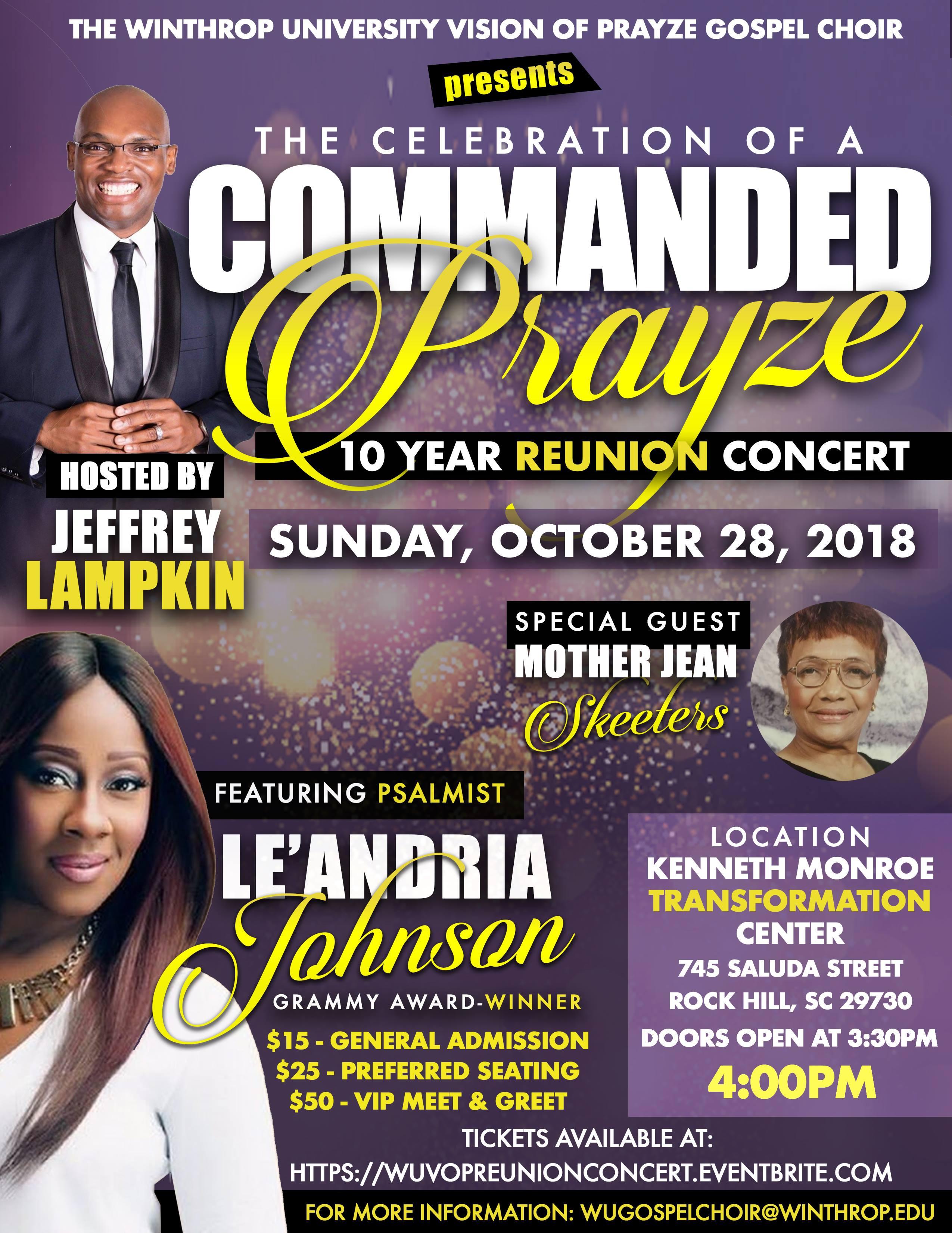 Winthrop University Gospel Choir Reunion Concert featuring Le'Andria Johnson