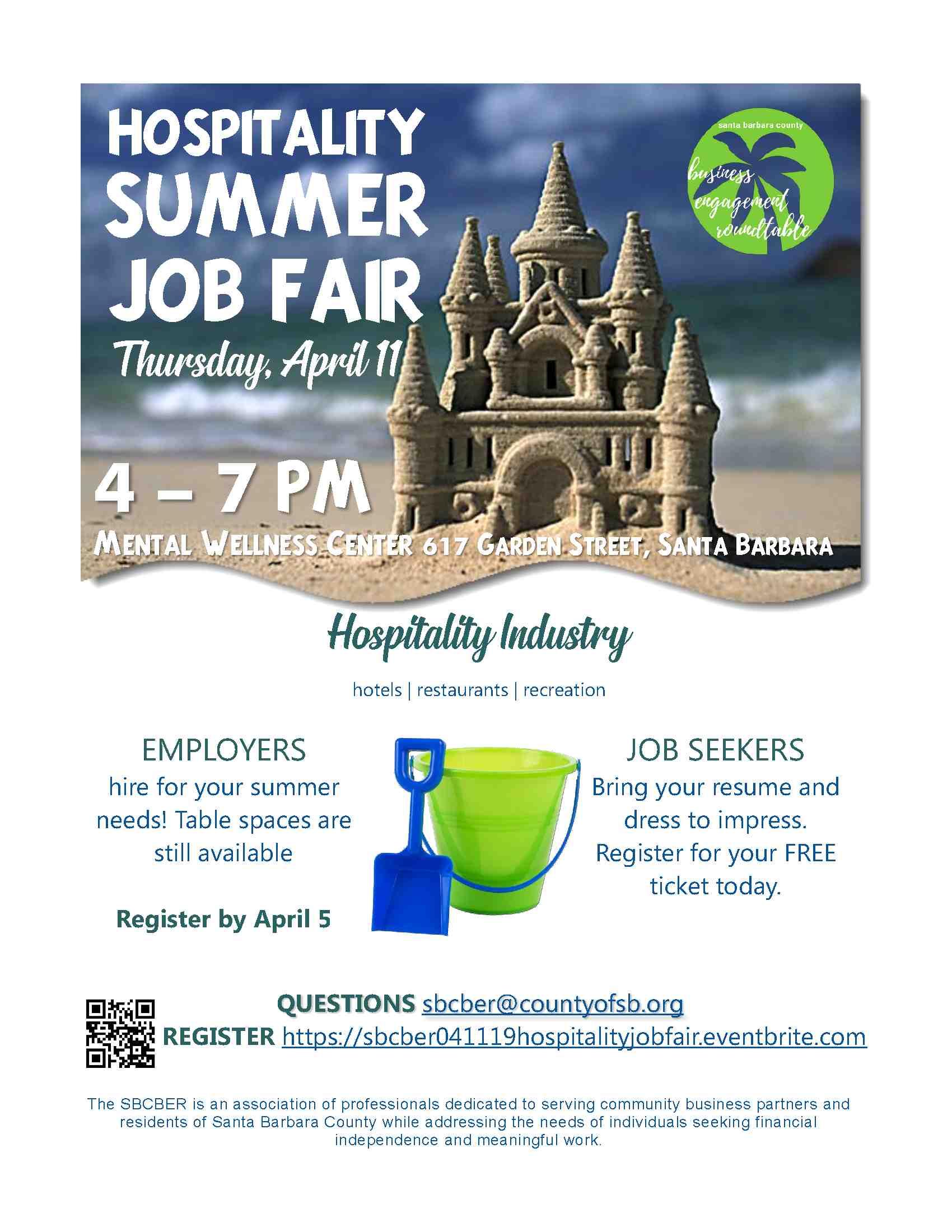 Hospitality Summer Job Fair Flyer