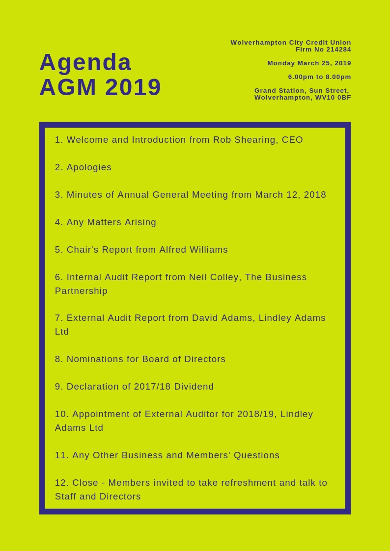 Agenda for the Annual General Meeting