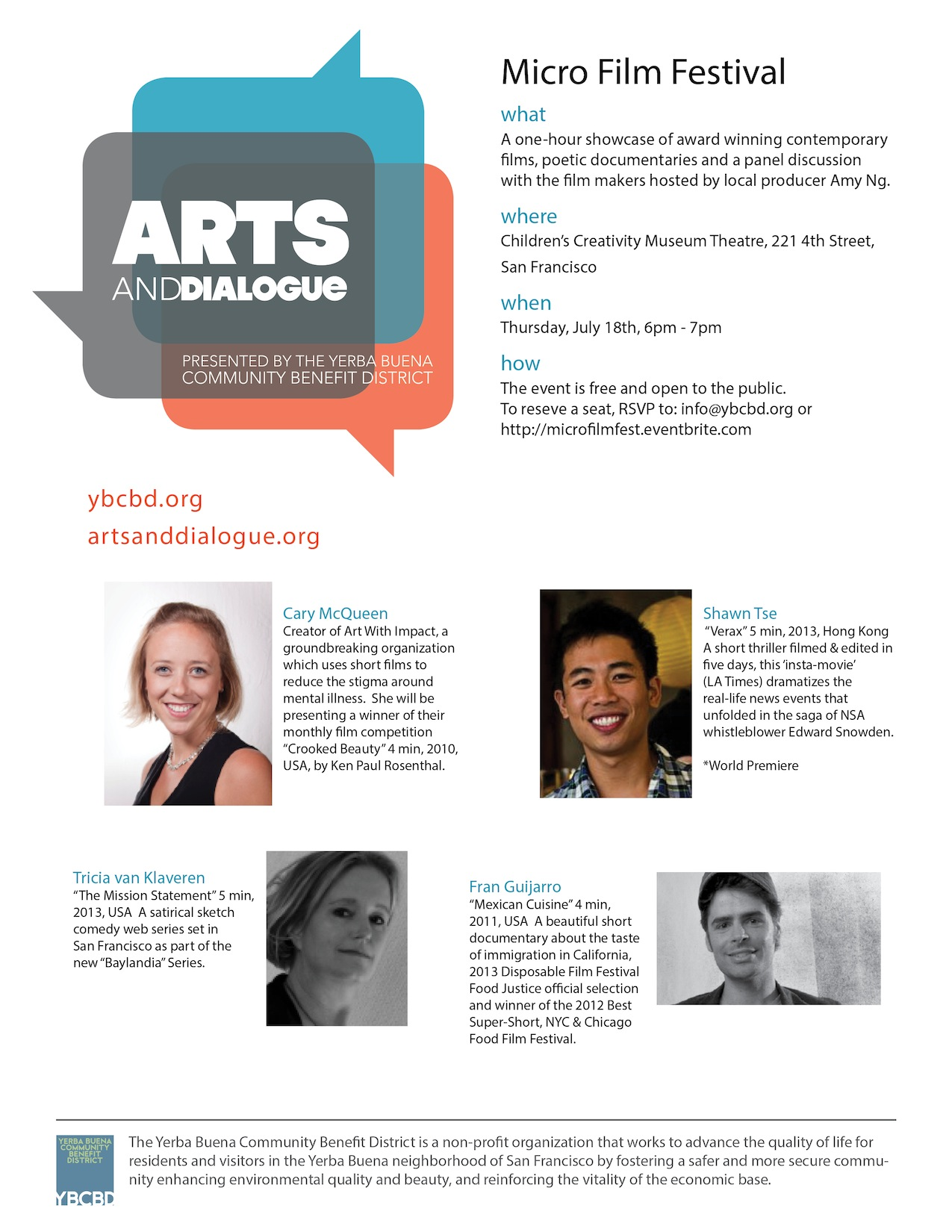 Micro Film Festival July Arts in Dialogue Poster