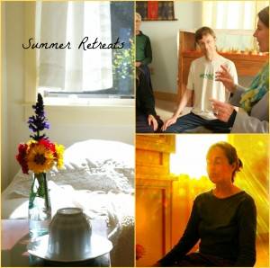 Left: One of many residential retreat rooms; Right Class and meditation