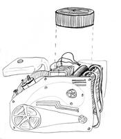 Car engine, drawn from memory