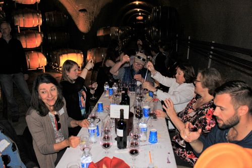 Guests get competitive at blending wine at AVV