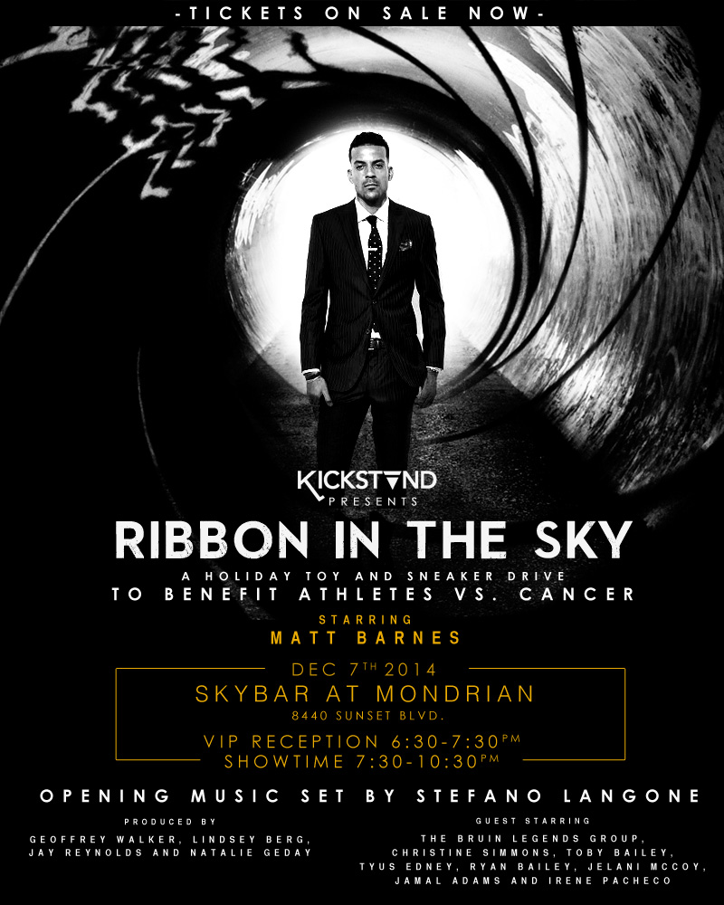Kickstand Presents Ribbon In the Sky Holiday Toy and Sneaker Drive Hosted by NBA Star and Los Angeles Clipper  Matt Barnes benefitting Athletes vs. Cancer with music performance by Stefano Langone