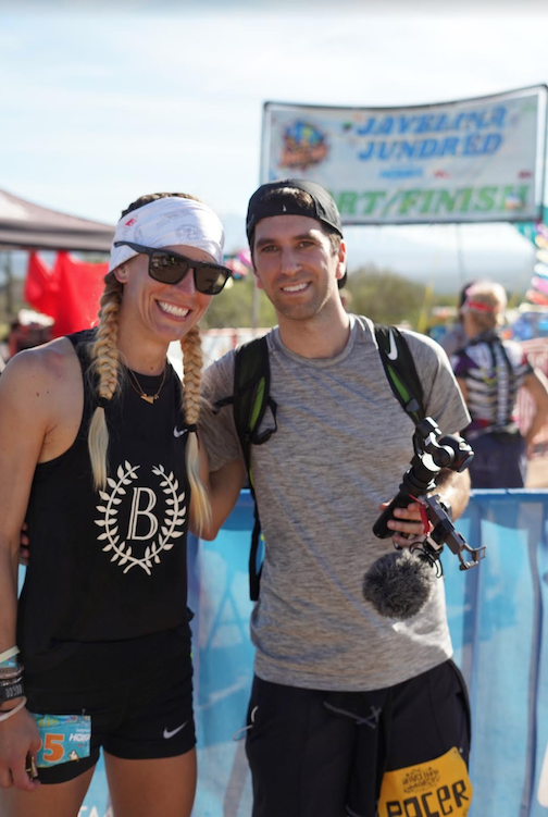 Jes and Ben at the start line of the JJ100