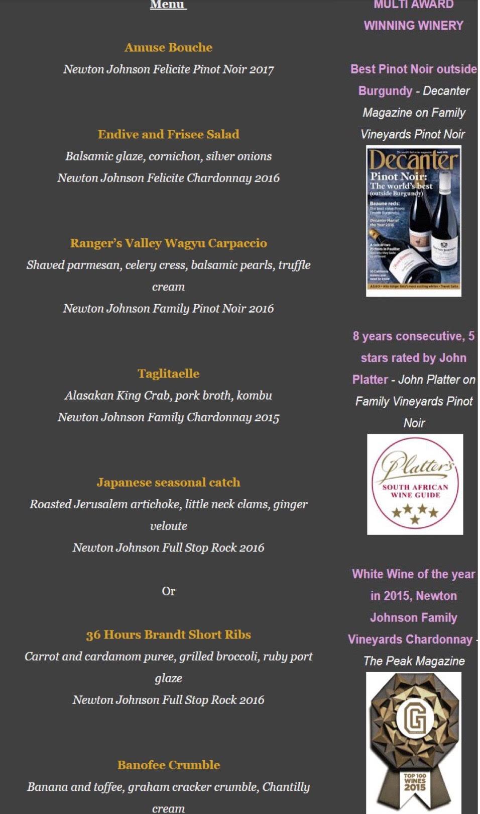 Newton Johnson wine dinner