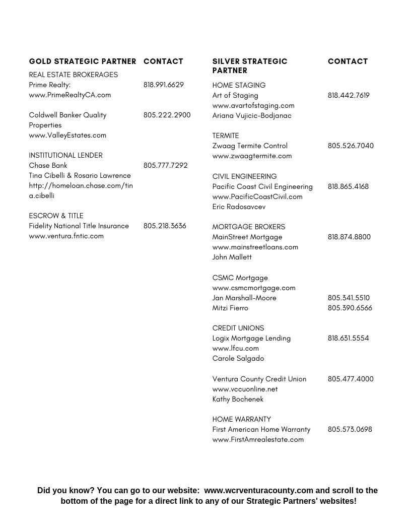 2019 Strategic Partners Contact Info