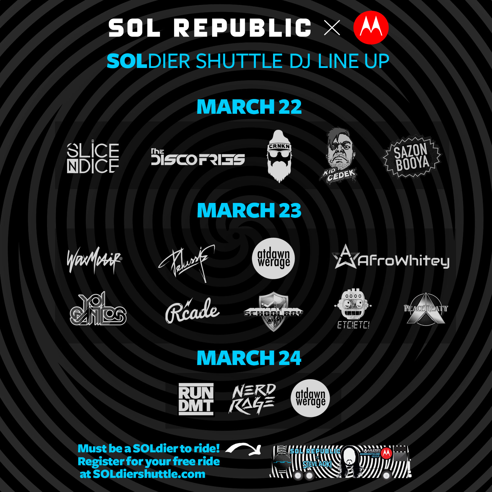 SOL REPUBLIC ULTRA Shuttle DJ LIne Up