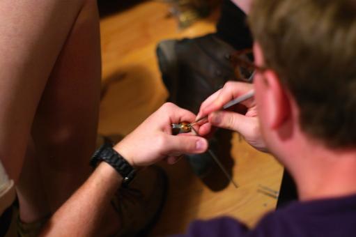 A person picking locks