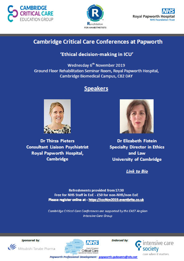 Critical Care Conferences (CCC) at Papworth - 6th November 2019 - Ethical  decision-making in ICU