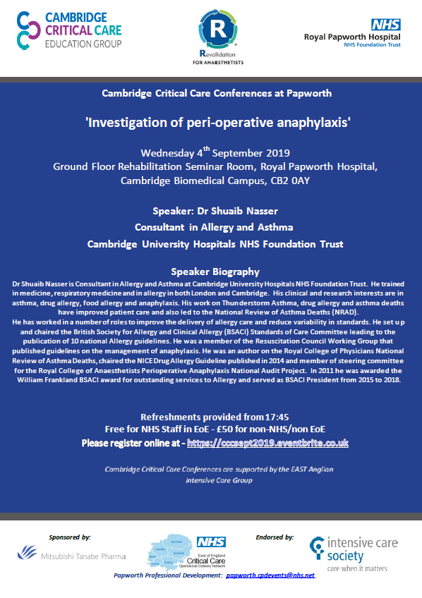 Critical Care Conferences (CCC) at Papworth - 4th September 2019 -  Investigation of peri-operative anaphylaxis