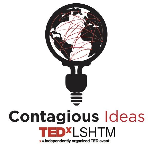 TEDxLSHTM Logo - world map within a light bulb