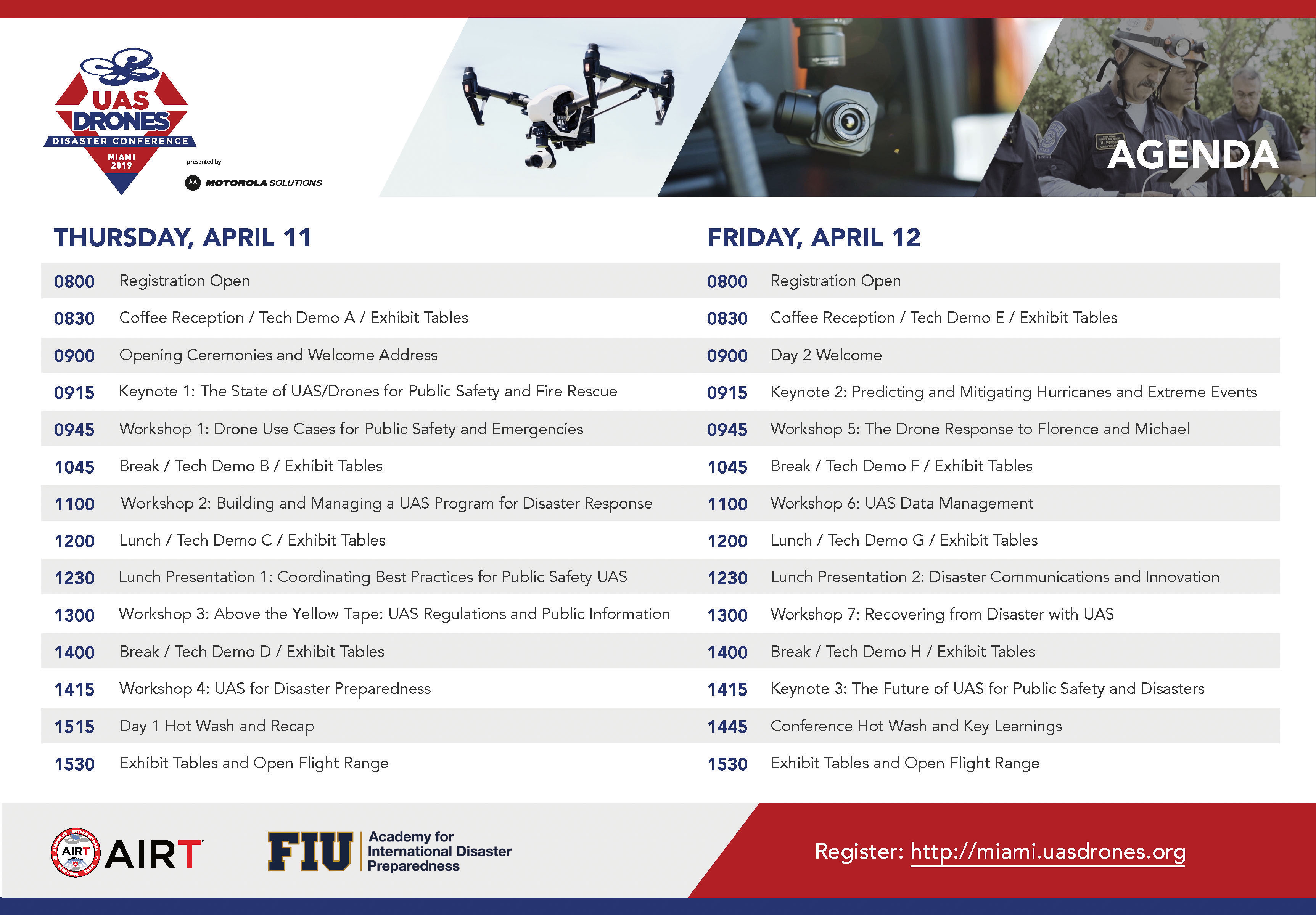 UAS DRONES Disaster Conference Miami Agenda