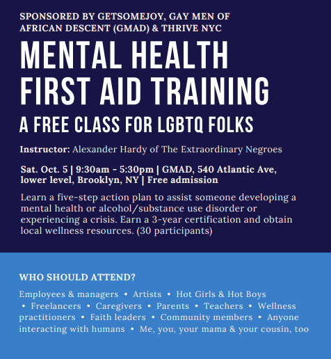 Mental Health First Aid with Alexander Hardy at GMAD 10/5/19