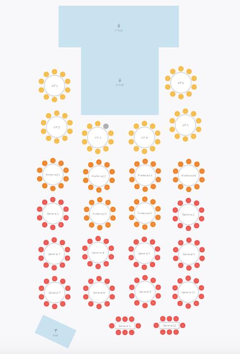 Mr. TANGO Seat Map