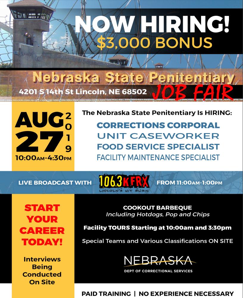 Nebraska State Penitentiary Job Fair, Tour and Food