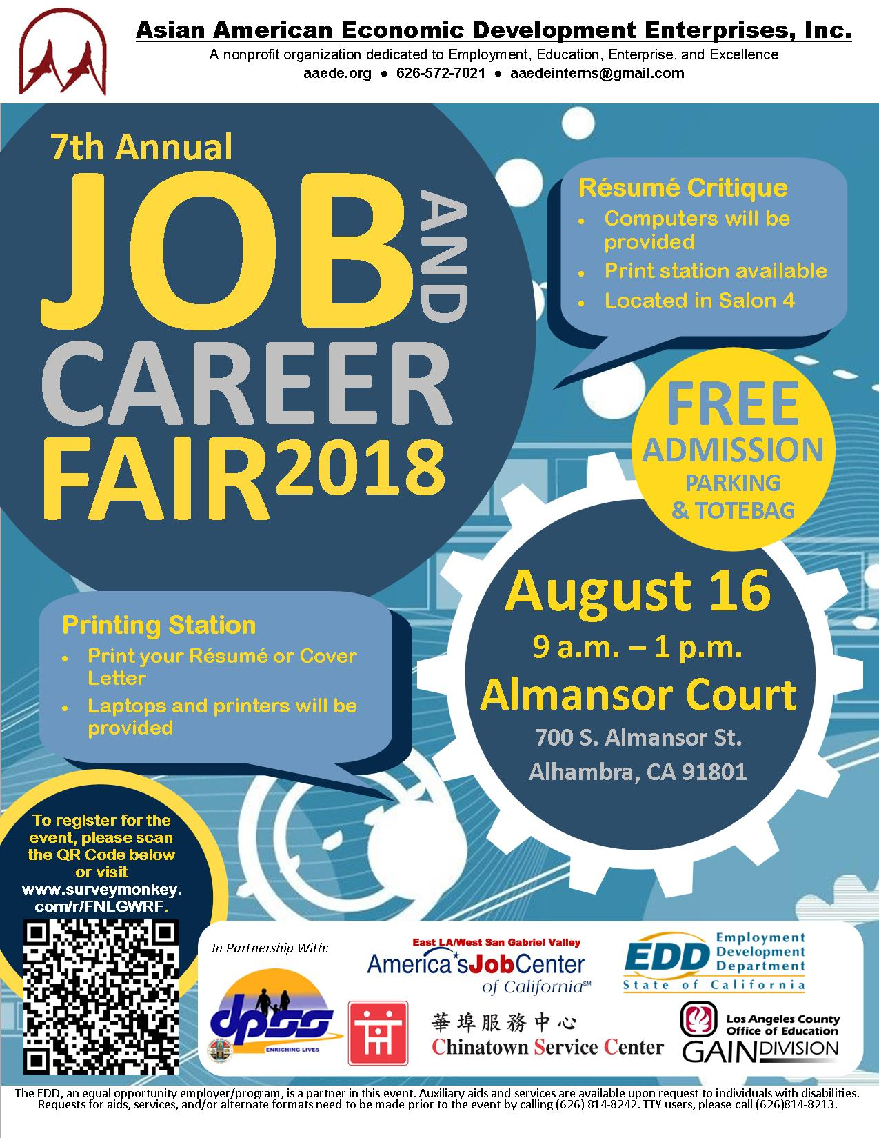 7th annual aaede job career fair alhambra ca