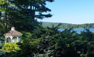 Lake, trees, hills