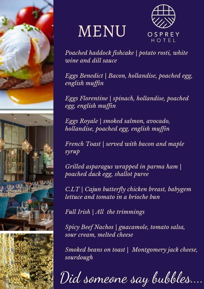 Osprey Hotel Punchestown bubbly brunch menu