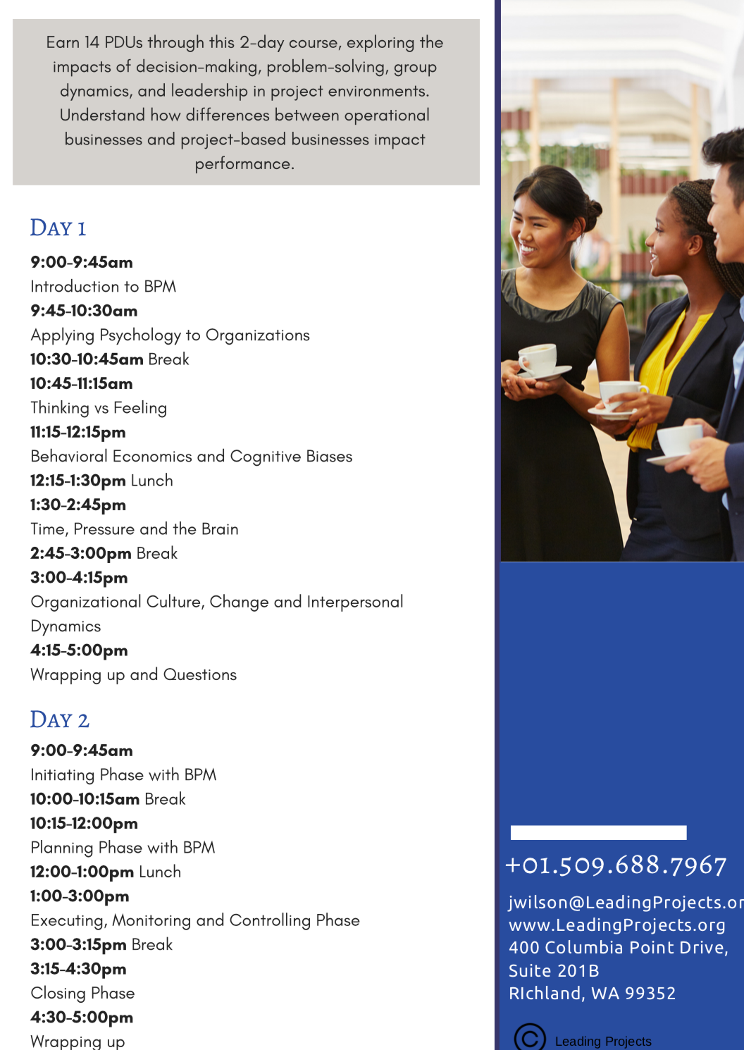 Schedule for Humanizing Projects Training
