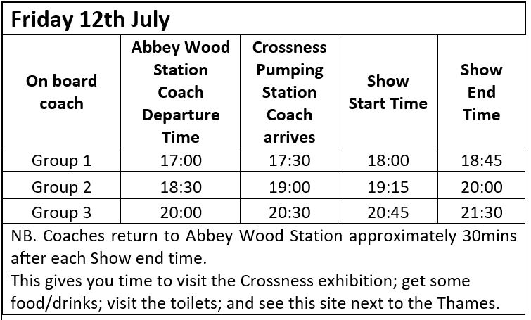 Coach and Show Times 12th July