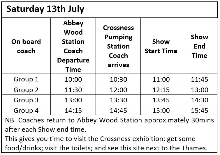Coach and Show times 13th July