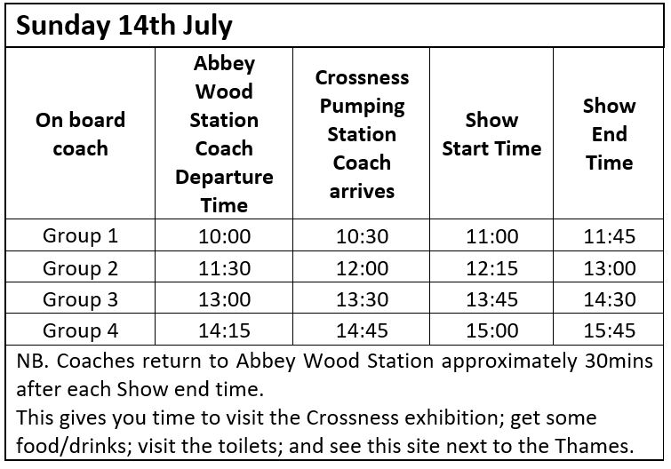 Coach and Show times 14th July