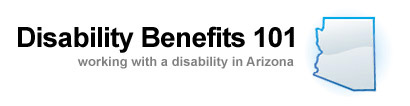 Arizona DB101 logo: Disability Benefits 101 with outline of the state of Arizona, working with a disability in Arizona