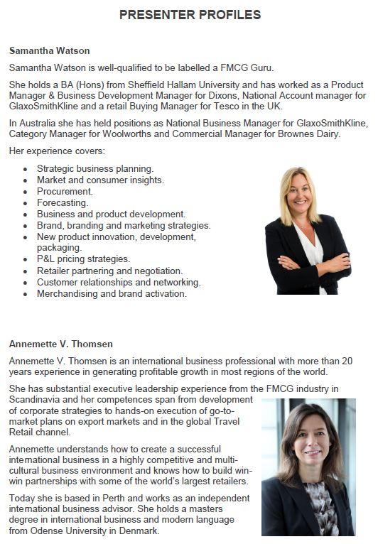 Samantha Watson & Annemette Thomsen profiles