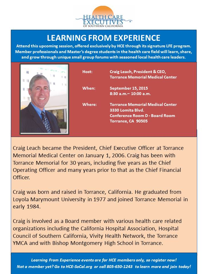 Upcoming Events : Learning from Experience Featuring Craig