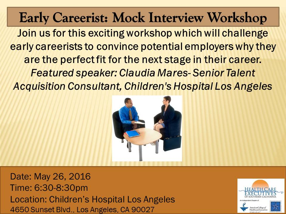 Upcoming Events : Mock Interview Workshop – Early