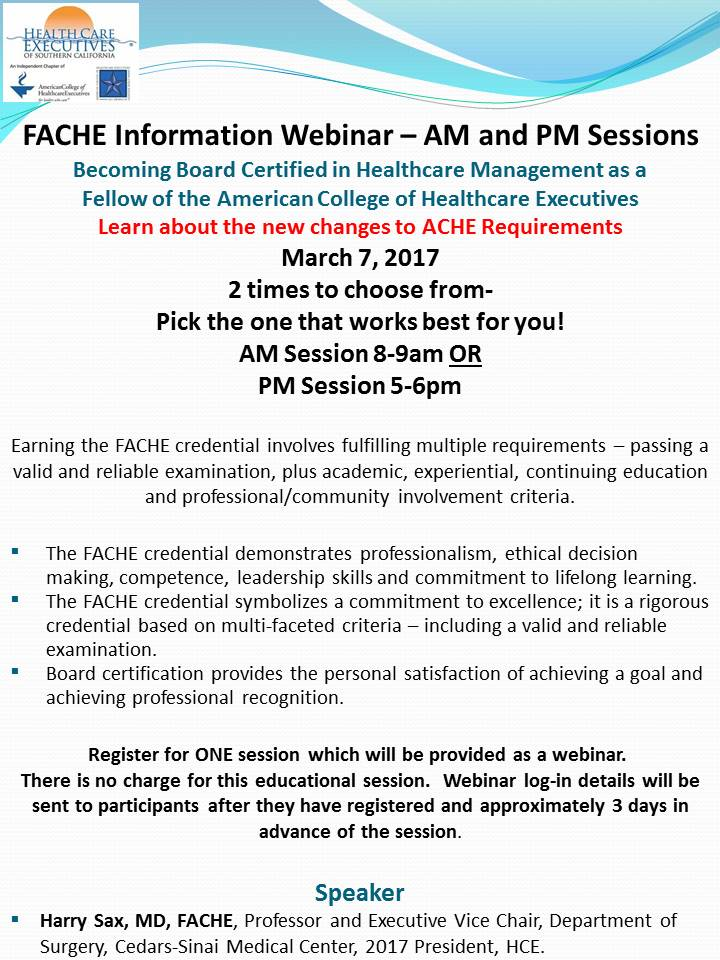 Upcoming Events Fache Advancement Information Webinar Two Times