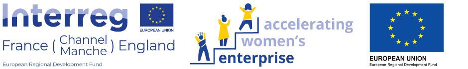 Accelerating Women's Enterprise Logo comprising of the project logo and the EU flag logo