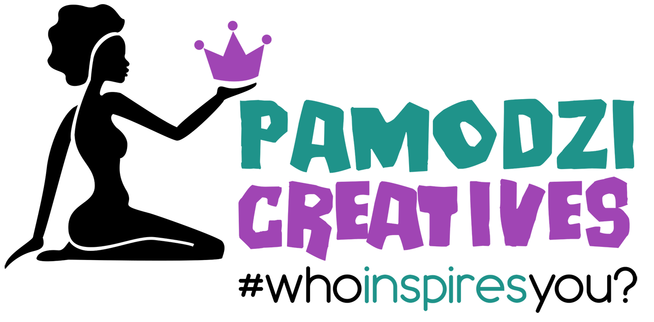 Pamodzi Logo, a kneeling woman holding a crown with the hashtag #whoinspiresyou?