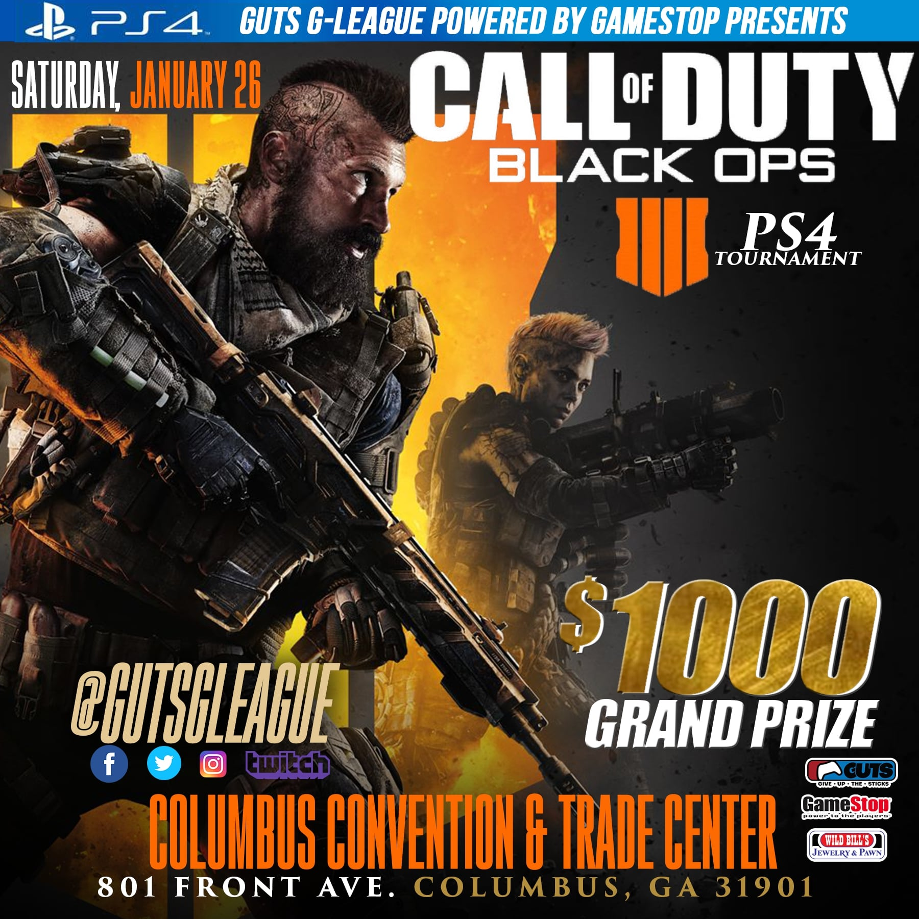$1000 PS4 Call Of Duty: Black Ops 4 Tournament