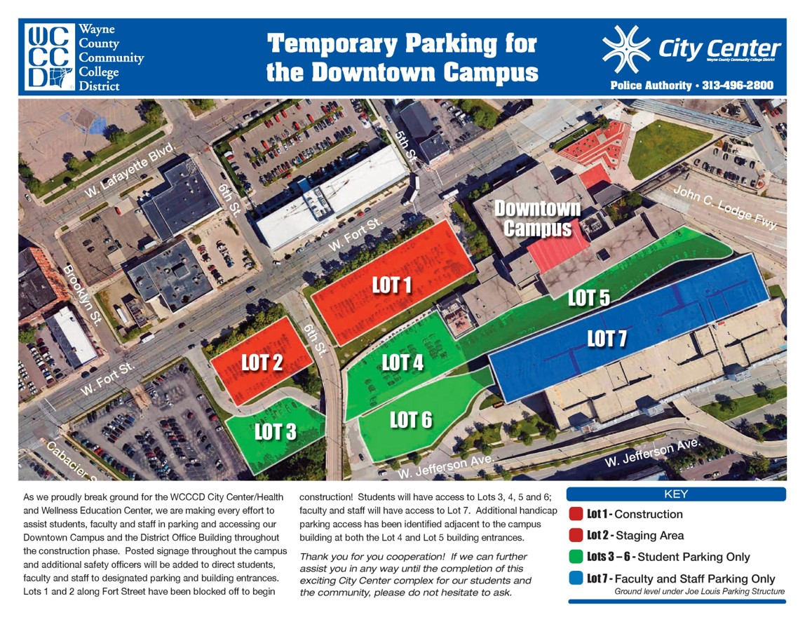 WCCC Temporary Parking Map: Please avoid parking lots #1 and #2. Entrances to other parking lots can be found off of 6th Street.