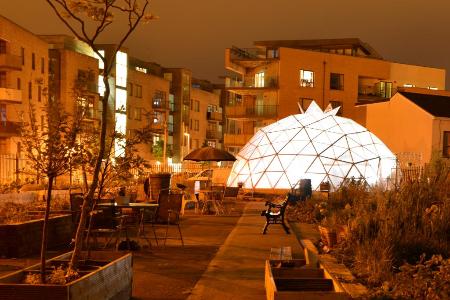 Geodesic dome at Flanagan's Field Community Garden