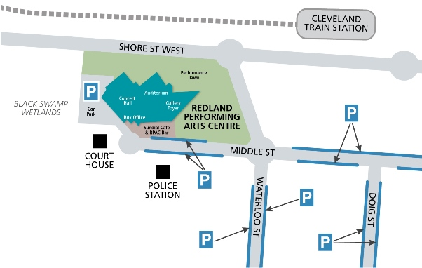 Map showing parking around the Arts Centre and on Middle Street, Waterloo St, and Doig St.