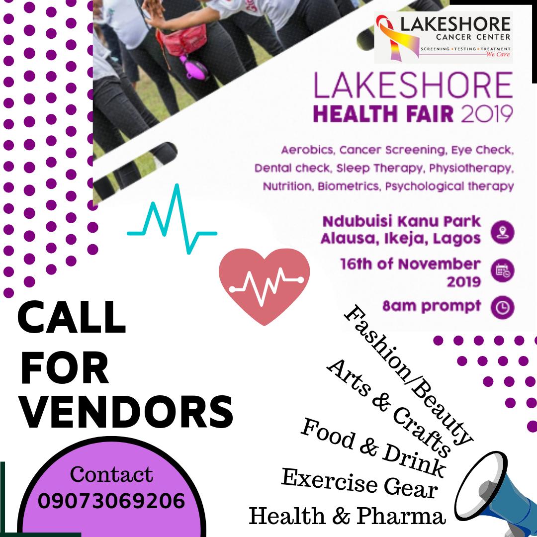 CALL FOR VENDORS FOR LAKESHORE'S HEALTH FAIR 2019