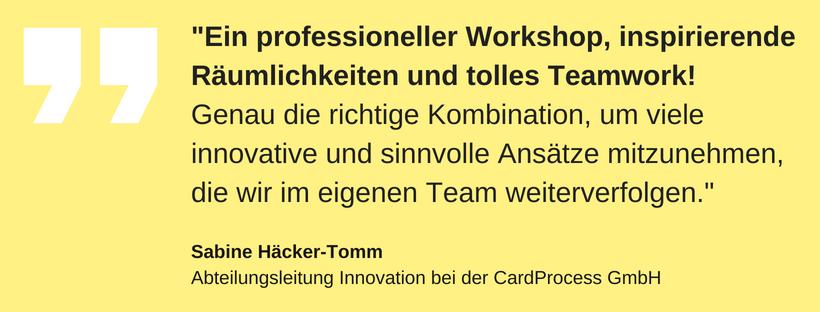 Ein professioneller Workshop, inspirierende Räumlichkeiten und tolles Teamwork! Genau die richtige Kombination, um viele innovative und sinnvolle Ansätze mitzunehmen, die wir im eigenen Team weiterverfolgen.