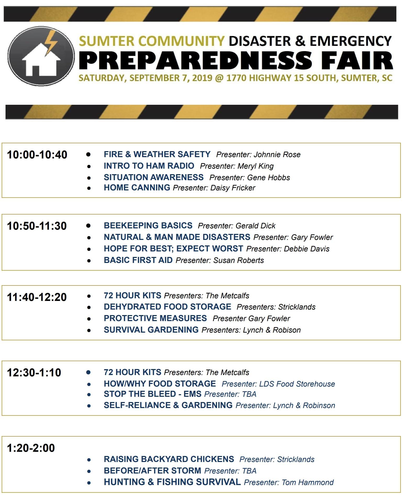 Sumter Community Emergency Preparedness Event Tickets, Sat