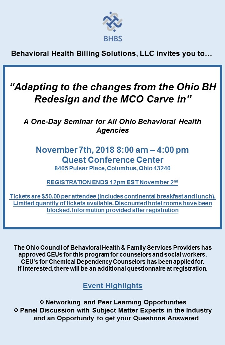Behavioral Health Billing Solutions, LLC Ohio BH Redesign MCO Carve in Managed Care Carve In