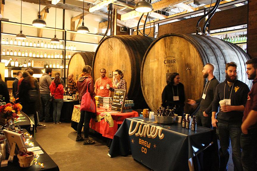 Cider tastings in the Brooklyn Cider House barrel room.