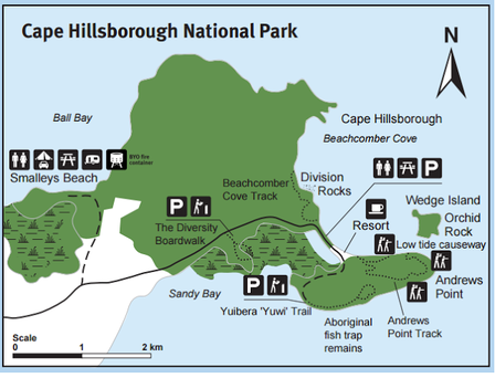Map of Cape Hillsborough walking trails