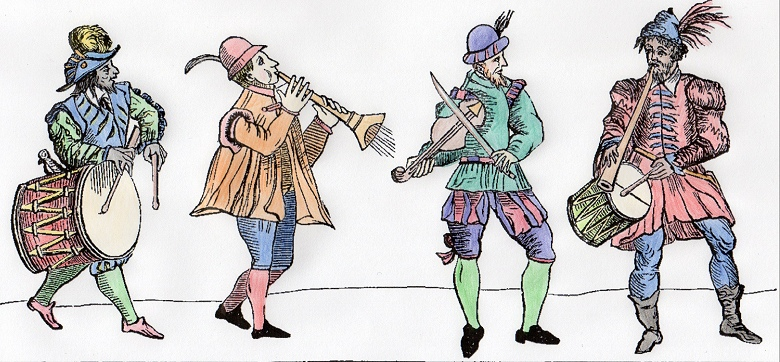 Logo = coloured in line drawings of musicians from Arbeau