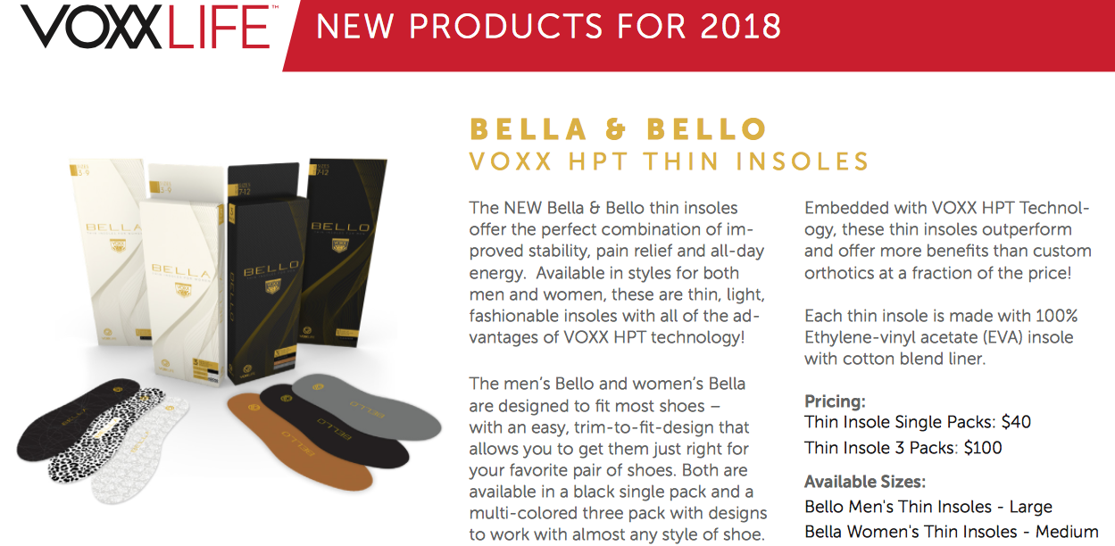 Bella or Bello 3 pack thin Insoles Valued at $100
