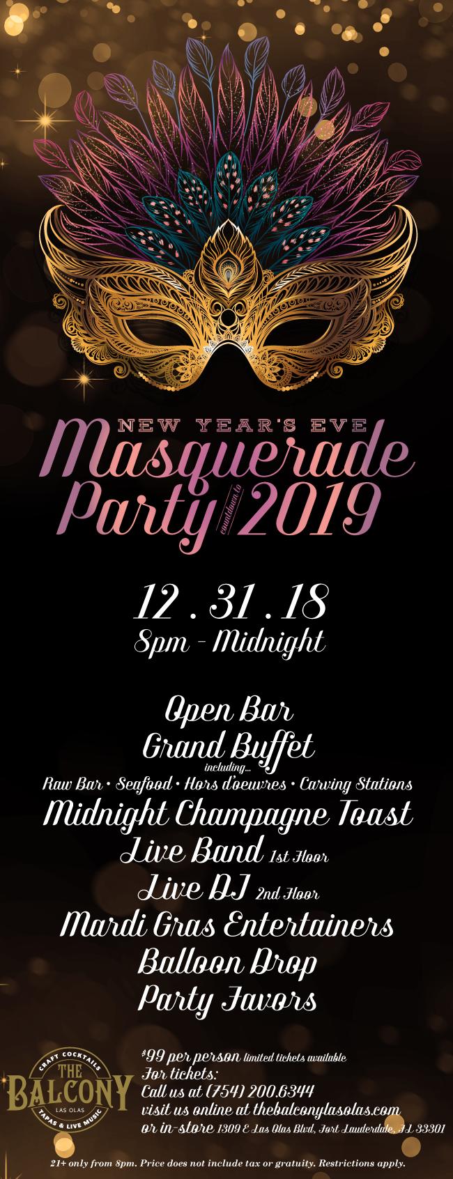 The Balcony NYE Masquerade Party