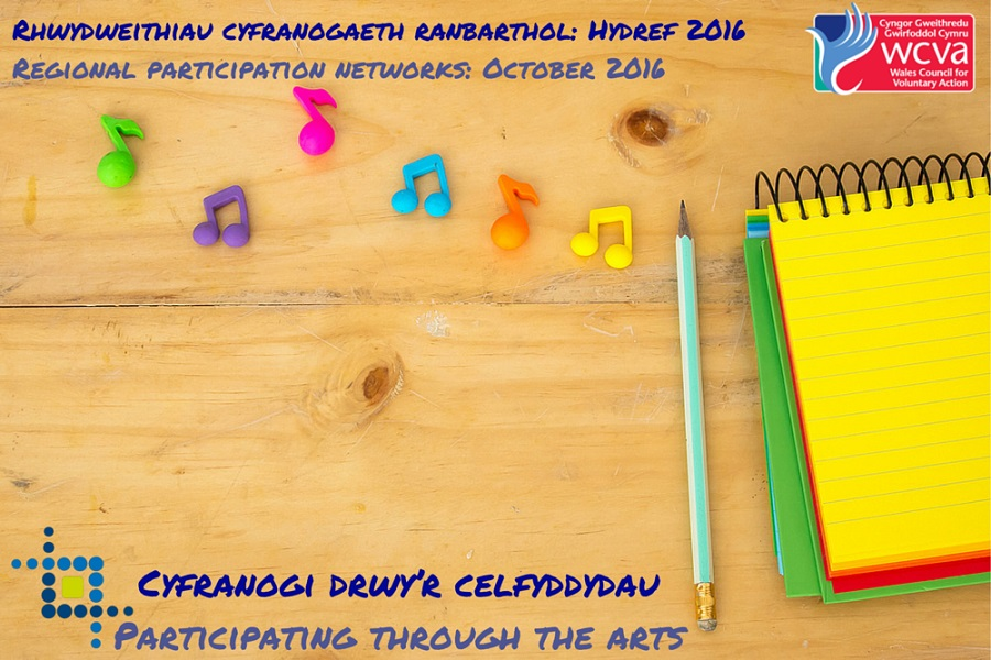 Event poster: colourful notepad with pencil and musical notes
